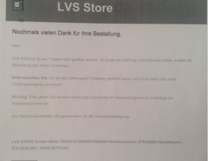"""LVS Mail """"erneute Zahlungsaufforderung"""""""